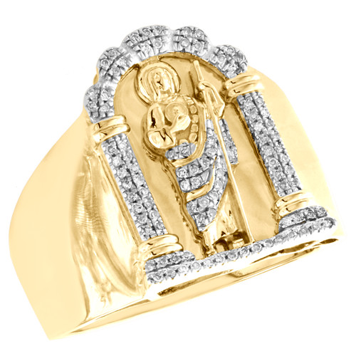 10K Yellow Gold Mens Mother Mary Real Diamond Statement Ring 20mm Band 1/4 CT.