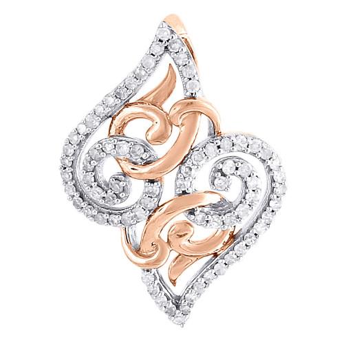 10K Rose Gold Diamond Ladies Intertwined Swirl Slide Fashion Pendant 0.20 Ct.