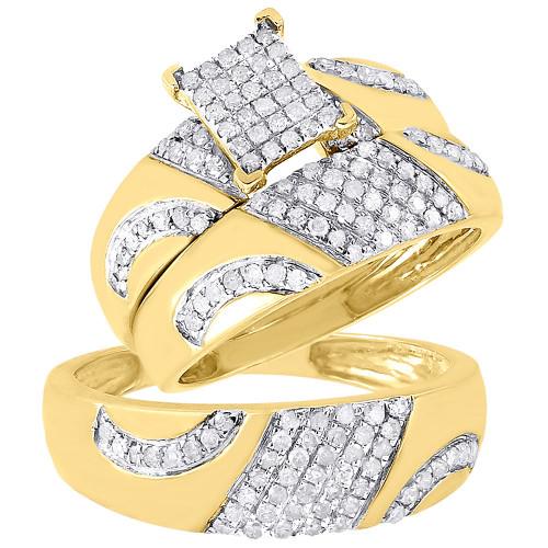 Diamond Trio Set 10K Yellow Gold Ladies Engagement Ring Mens Wedding Band 3/4 CT