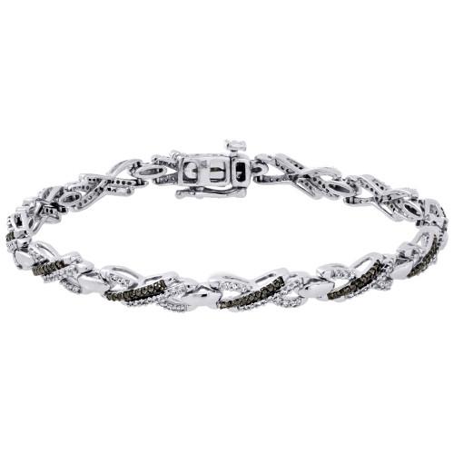 """10k White Gold Black & White Diamond Criss-Cross""""X"""" Link Bracelet 7.70"""" 1 Ct."""