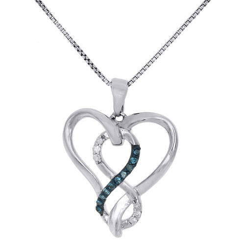 .925 Sterling Silver Blue Diamond Heart & Infinity Pendant 0.10 Ct. w/ Chain