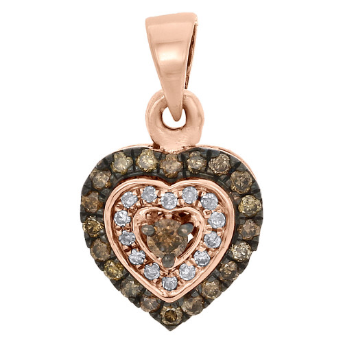 10K Rose Gold Brown Diamond Heart Pendant Double Halo Frame Charm  1/3 CT.