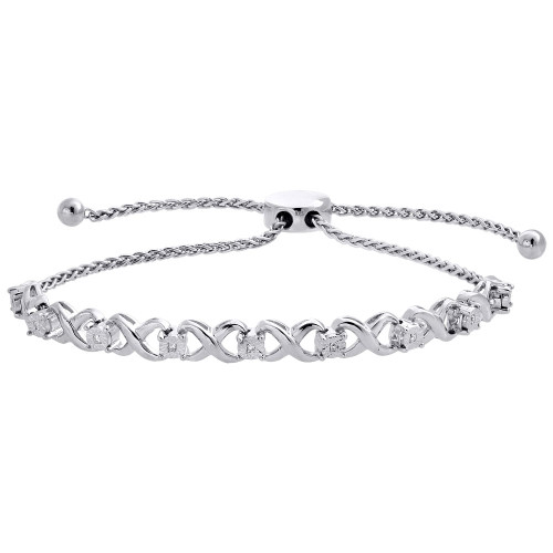 Genuine 1/20 CT. Infinity Diamond Bolo Bracelet in Sterling Silver 4 Prong 10""