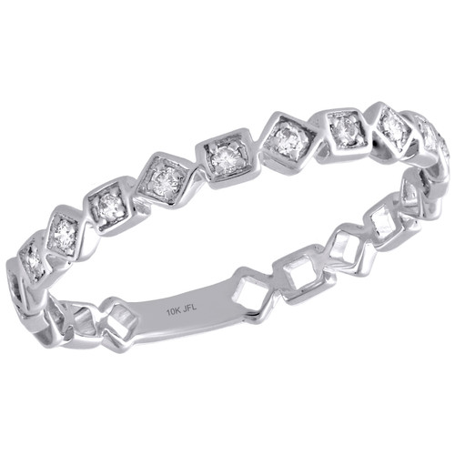 10K White Gold Diamond Square Design Ladies Right Hand Cocktail Ring 1/10 Ct.