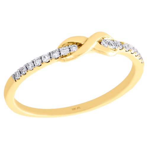 10K Yellow Gold Diamond Infinity Love Knot Stackable Right Hand Ring 1/10 Ct.