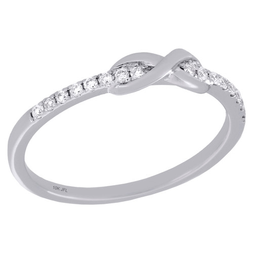 10K White Gold Diamond Infinity Love Knot Stackable Right Hand Ring 1/10 Ct.