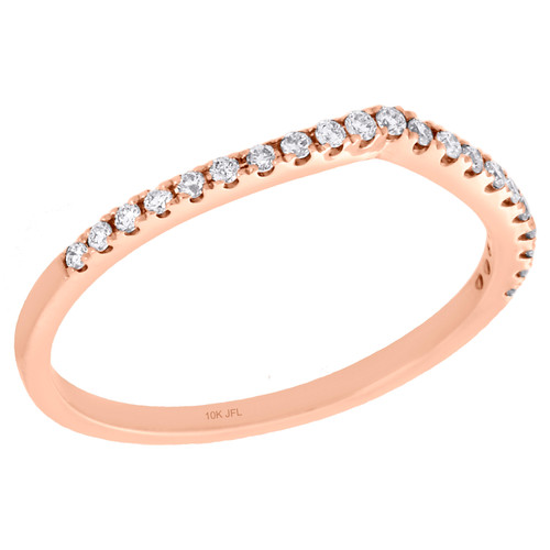 10K Rose Gold Pave Set Diamond Contour Stackable Right Hand Promise Ring 1/6 Ct.