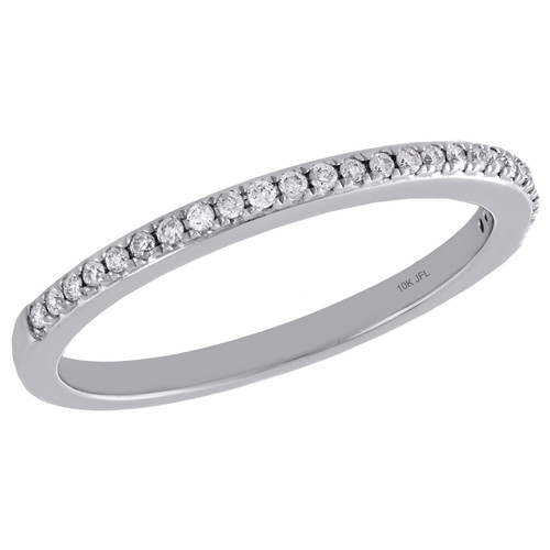 10K White Gold Diamond Slender 1 Row Ladies Right Hand Cocktail Ring 1/8 Ct.