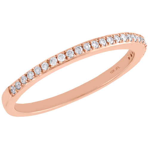 10K Rose Gold Diamond Slender 1 Row Ladies Right Hand Cocktail Ring 1/8 Ct.