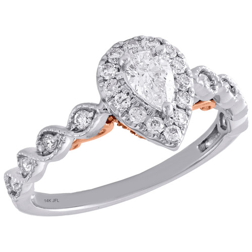 14K Two Tone Gold Pear Solitaire Diamond Teardrop Halo Engagement Ring 0.75 Ct.
