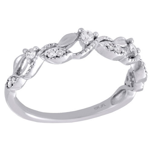 10K White Gold Women's Diamond Leaf/Flower Stackable Right Hand Ring 1/6 Ct.
