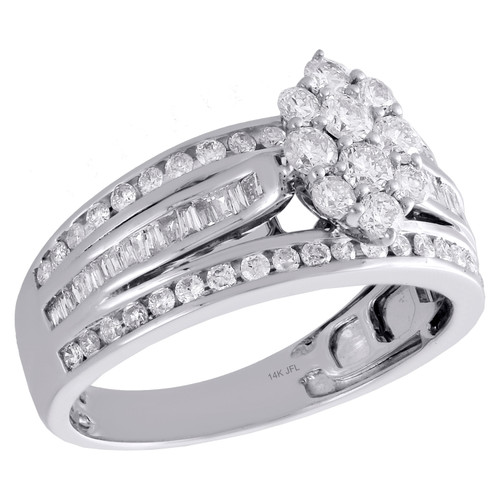 14K White Gold Round & Baguette Diamond Cluster Marquise Engagement Ring 1 Ct.