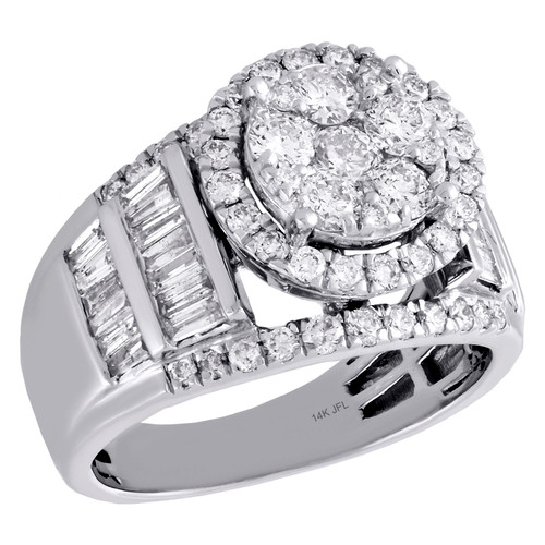 14K White Gold Baguette Diamond Tiered Halo Flower Engagement Ring 1.88 Ct.