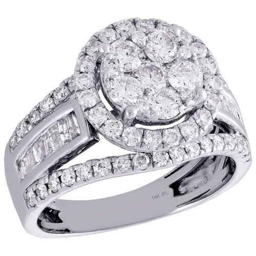 14K White Gold Baguette Diamond Contoured Flower Ladies Engagement Ring 1.88 Ct.