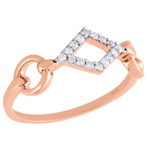 14K Rose Gold Round Diamond Cut Out Designer Right Hand Cocktail Ring 1/10 Ct.