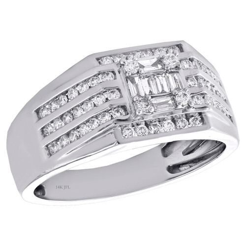 14K White Gold Baguette & Round Diamond Cluster Wedding Band Pinky Ring 3/4 CT.