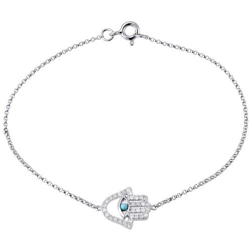 14K White Gold Ladies Pave Diamond Hamsa Hand of God 7 inch Bangle/Bracelet