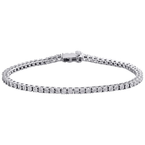 1 Row Sterling Silver Round Diamond 3.25mm Miracle Plate Tennis Bracelet 1/4 CT.