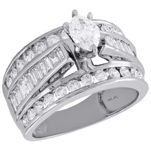 14K White Gold Marquise Solitaire Diamond Cathedral Engagement Ring 2.50 Ct.