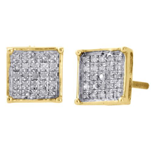 10K Yellow Gold Diamond Pave Studs Mini 7.20mm 4 Prong Square Earrings 0.17 Ct.