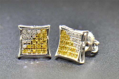 Yellow Diamond Studs 10K White Gold 0.10 CT Pave Kite Shaped Small Earrings