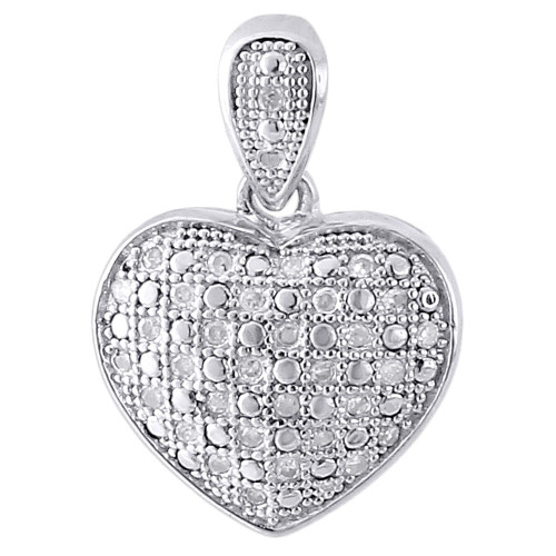"925 Sterling Silver Ladies Diamond Heart Domed Puff Pendant 18"" Chain Set .15 Ct"