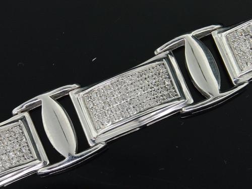 MENS .925 STERLING SILVER DIAMOND LINK BRACELET 2.50 CT