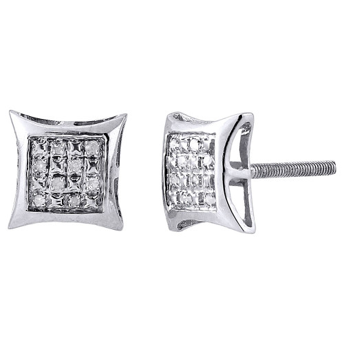 .925 Sterling Silver Round Pave Diamond 9mm Kite Stud Earrings 0.05 Ct.