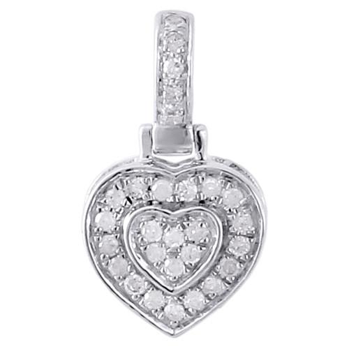 10K White Gold Ladies Diamond Pendant Double Raised Heart 0.30 CT.