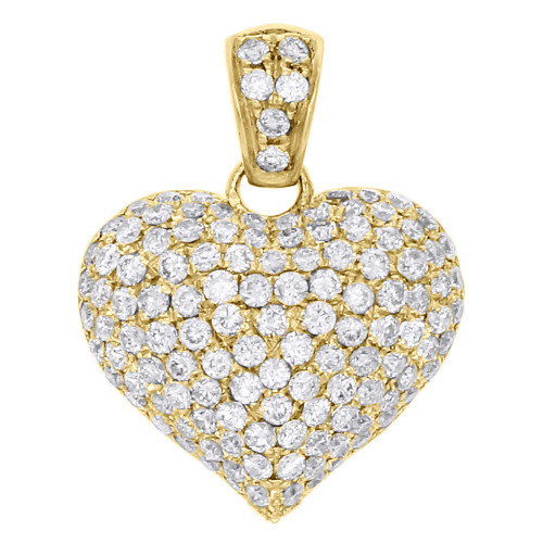 "14K Yellow Gold Diamond Puff Heart Pendant 0.80"" Ladies Pave Domed Charm 1.35 Ct"