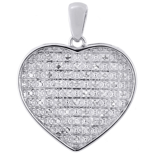 ".925 Sterling Silver Diamond Ladies Concave Heart Pendant 18"" Chain Set 0.20 Ct"