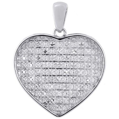 ".925 Sterling Silver Diamond Ladies Concave Heart Pendant 18"" Chain Set 0.20 Ct"