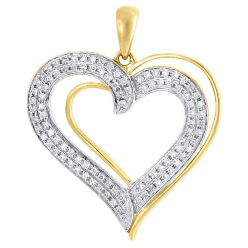 Diamond Heart Pendant Ladies 10K Yellow Gold Round Pave Love Charm 0.20 Tcw.