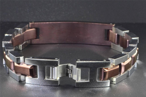 Mens Stainless Steel Chocolate IP-Plated with Diamond 8.5 inch Bracelet