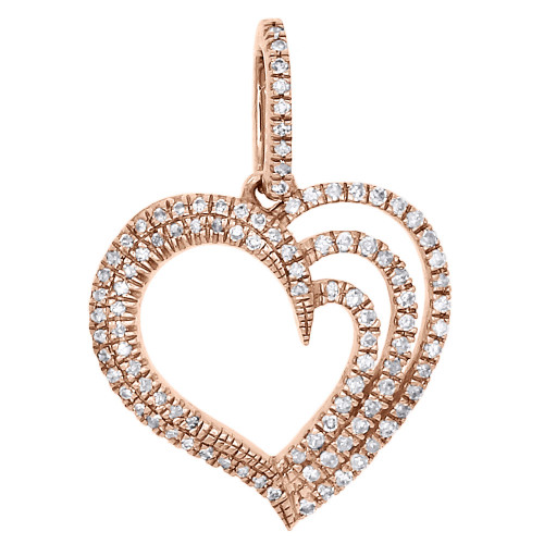 14K Rose Gold Ladies Diamond Double Row Heart Pendant Prong Set Charm 0.26 Ct.