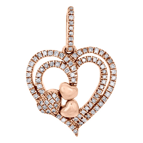 14K Rose Gold Diamond Double Outlined Heart Pendant Prong Setting Charm 0.26 Ct.