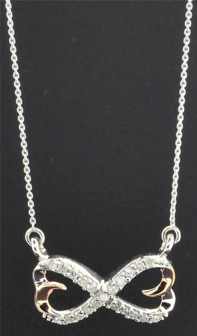 Diamond Infinity Pendant 10K White & Rose Gold 0.20 CT Heart Charm Necklace