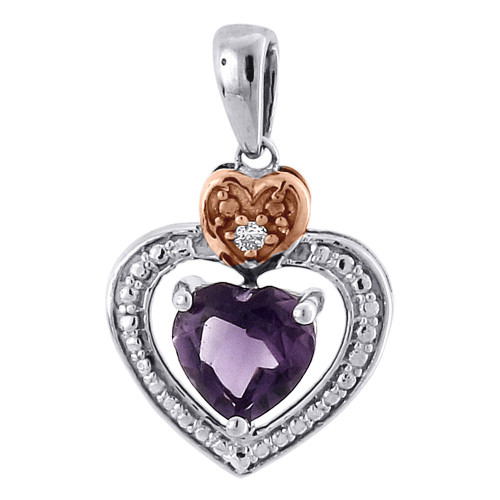 Diamond Created Amethyst Heart 10K Two Tone Gold Pendant 0.76 CT.