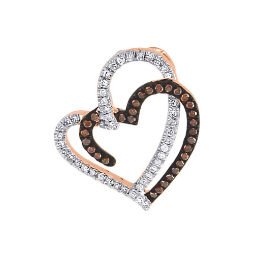 Double Heart Red Diamond Pendant 10k Rose Gold Charm Necklace 0.20 CT.