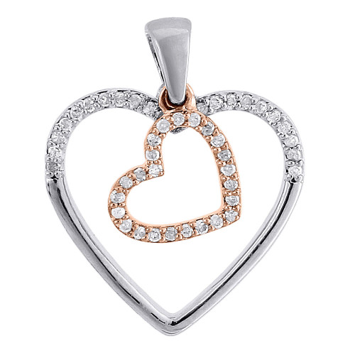 Diamond Double Heart Charm Necklace 10K Two Tone Gold Pendant 0.20 CT.