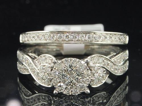 Diamond Bridal Set 14K White Gold Ladies Round Engagement Wedding Ring 0.67 Tcw.