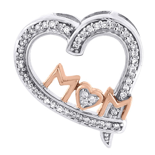 Diamond Heart Charm Necklace 10K Two Tone Gold Mom Pendant 0.12 CT.