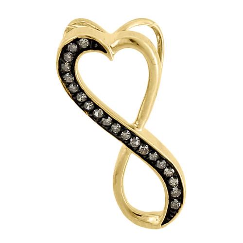 Brown Diamond Pendant Yellow Gold Round Heart Infinity Charm 0.10 Ct
