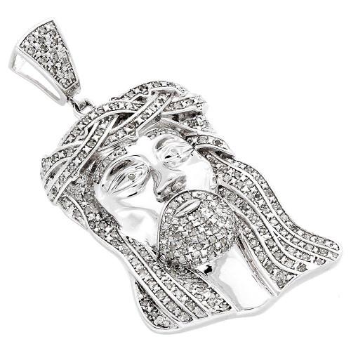.925 Sterling Silver Real Diamond Micro Mini Jesus Face Piece Pendant Charm 1 CT.