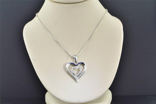 Diamond Double Heart Pendant .925 Sterling Silver 0.10 CT Love Charm with Chain