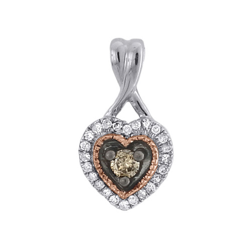 Brown Diamond Solitaire Heart Pendant 10K Two Tone Gold Charm 0.15 CT.
