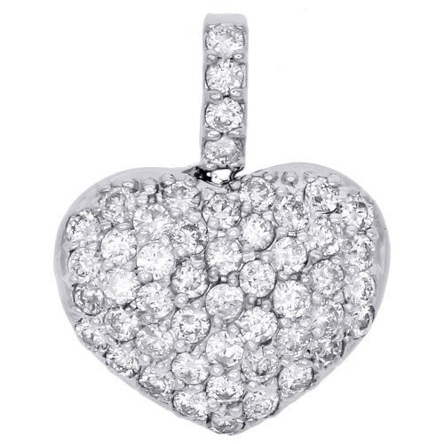 "14k White Gold Dome Puff Heart Genuine Diamond Pendant 0.70"" Pave Charm 0.86 CT."