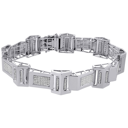 "Diamond Statement Bracelet .925 Sterling Silver Round Cut Pave 8.5"" 0.52 Ct"