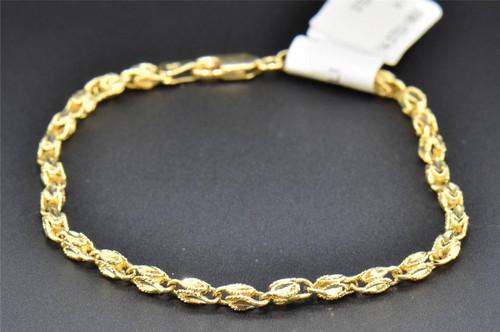 "14K Yellow Gold Ladies Link Designer Hollow Fashion Bracelet 7"" 4.1 Grams 4MM"