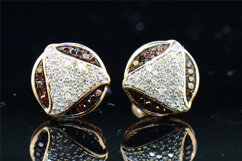 Ladies 10K Pink Rose Gold Red Diamond Circle Earrings Studs Triangle 0.25 Ct.